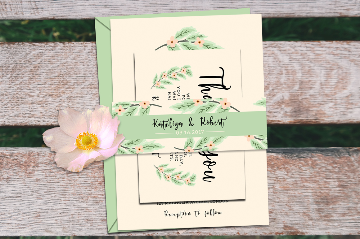 Nature Wedding Invitation Suite example image 5