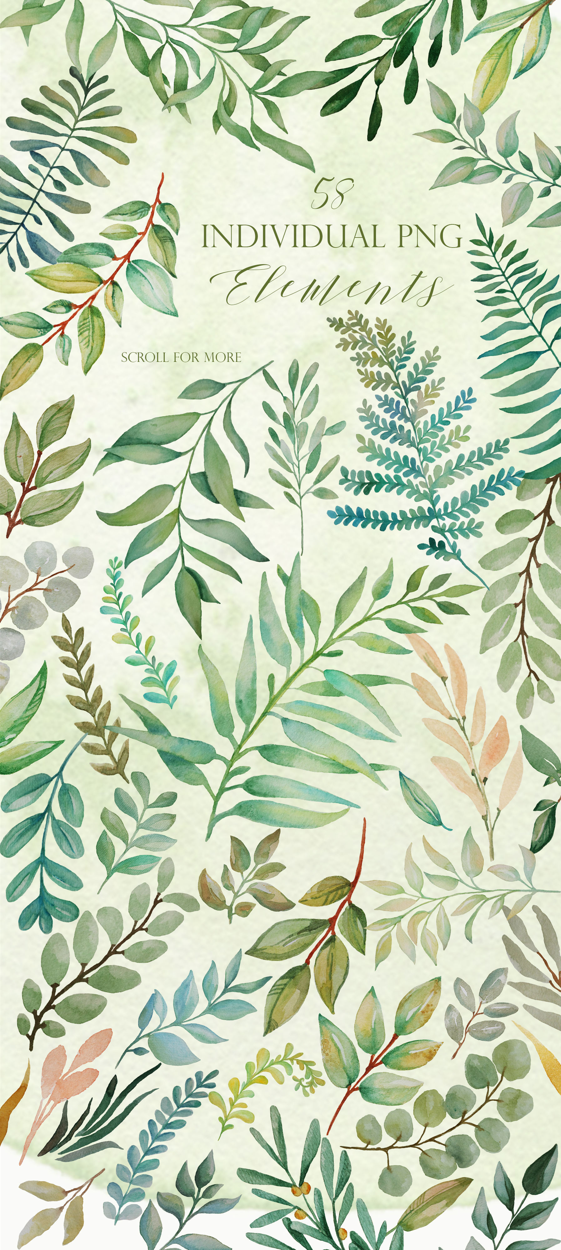 Greenery - Watercolor Green Leafs example image 5