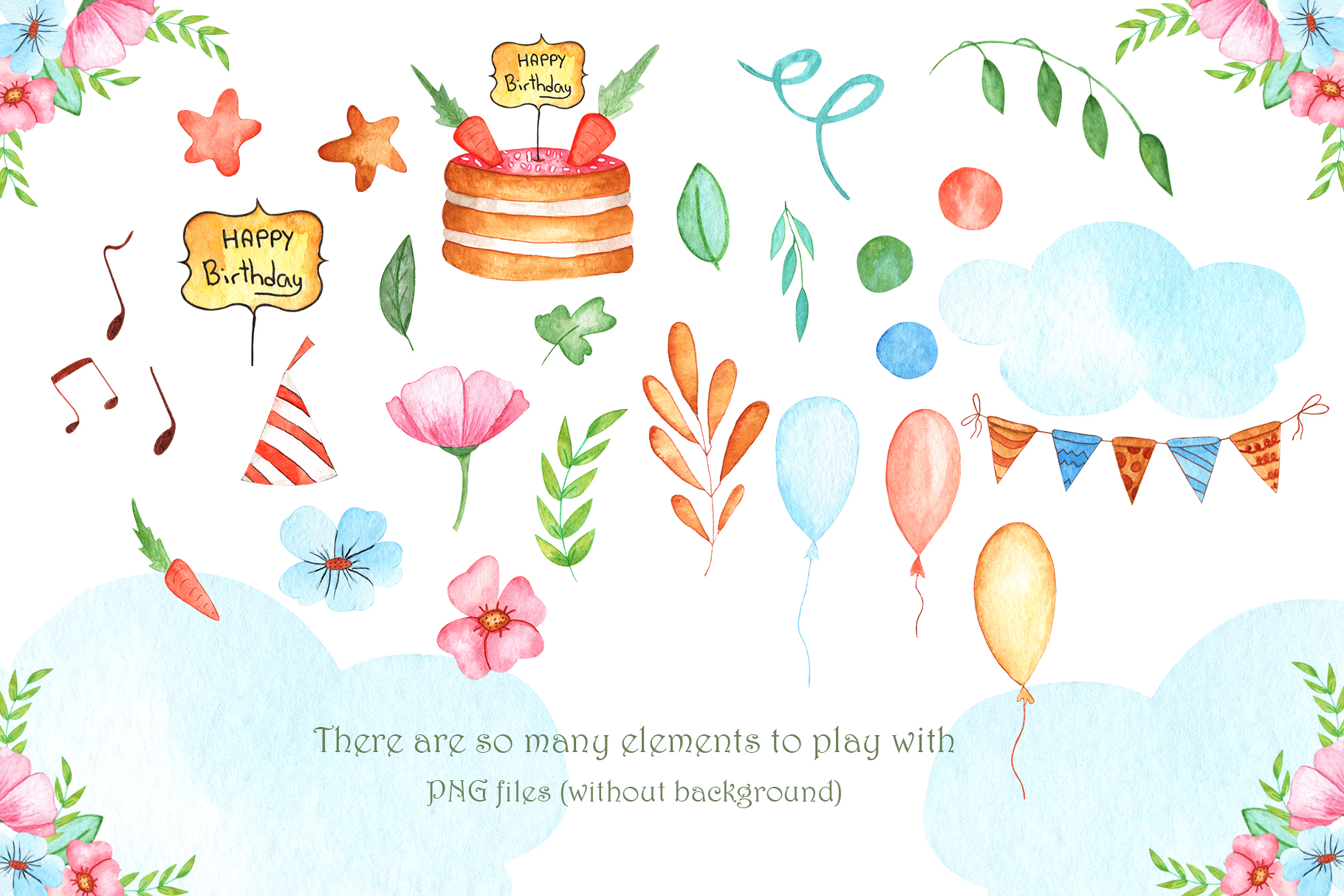 Watercolor Little Bunnies Illustrations example image 4