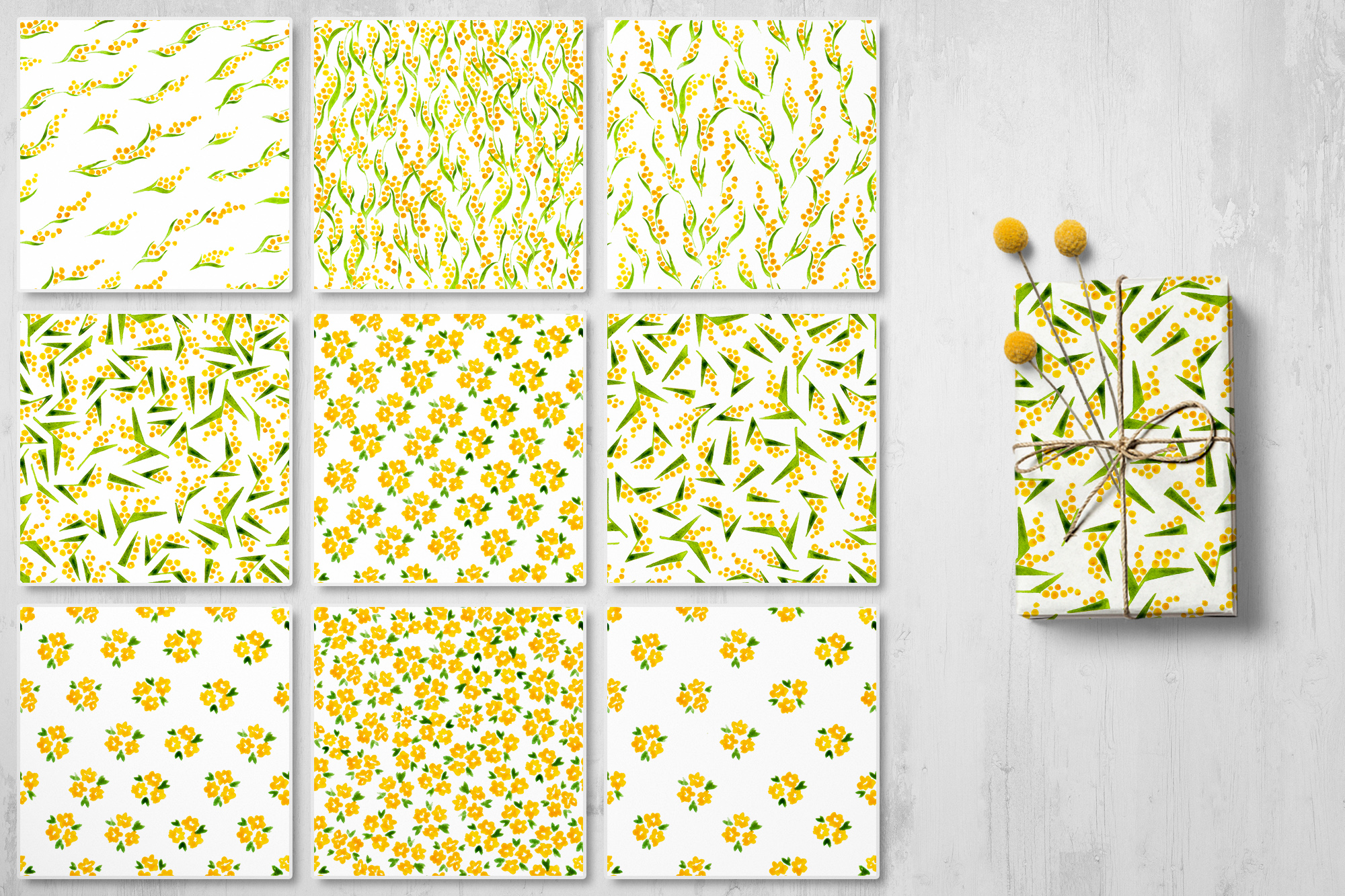 Mille Fleur - 36 watercolor patterns example image 6