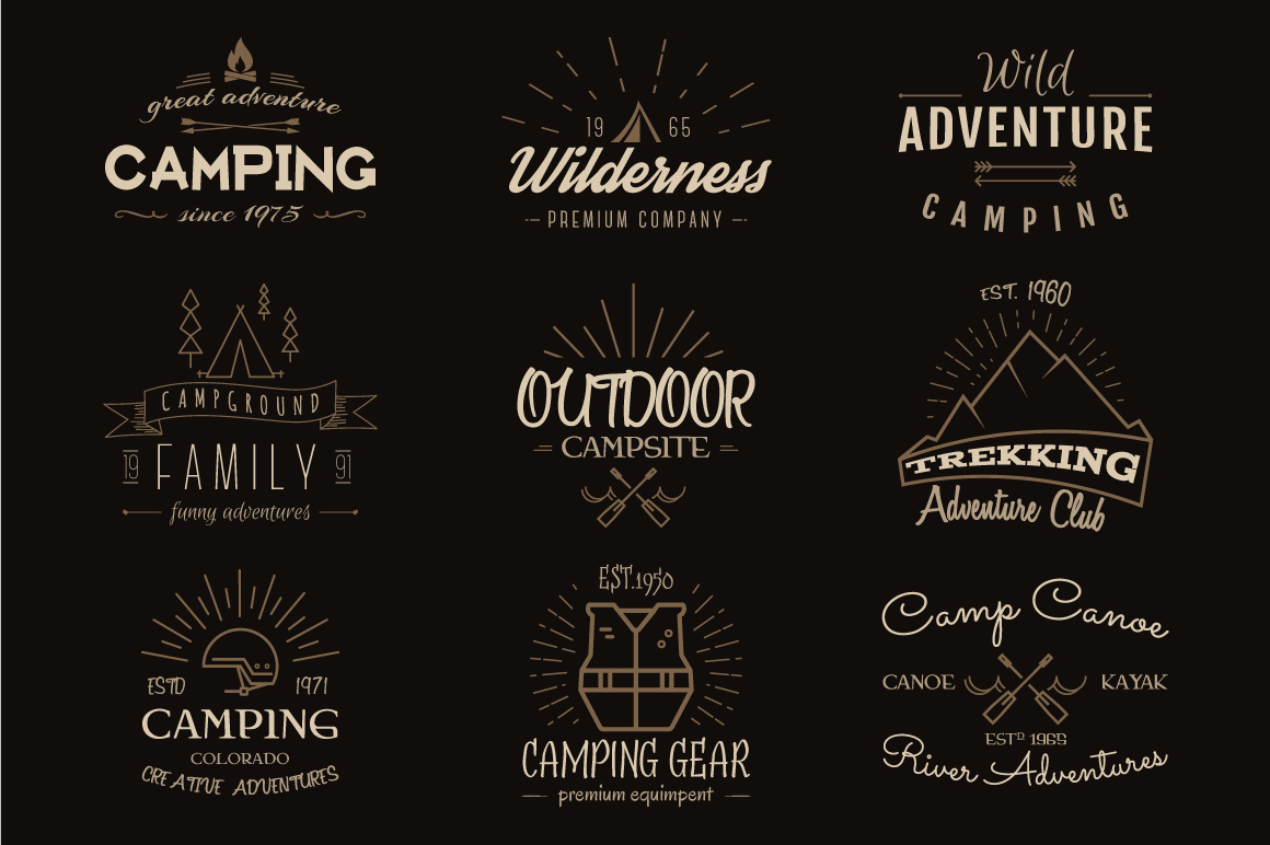 70% OFF Adventure Graphics Pack / Retro Logos Set / SVG's Collection / Icons example image 12