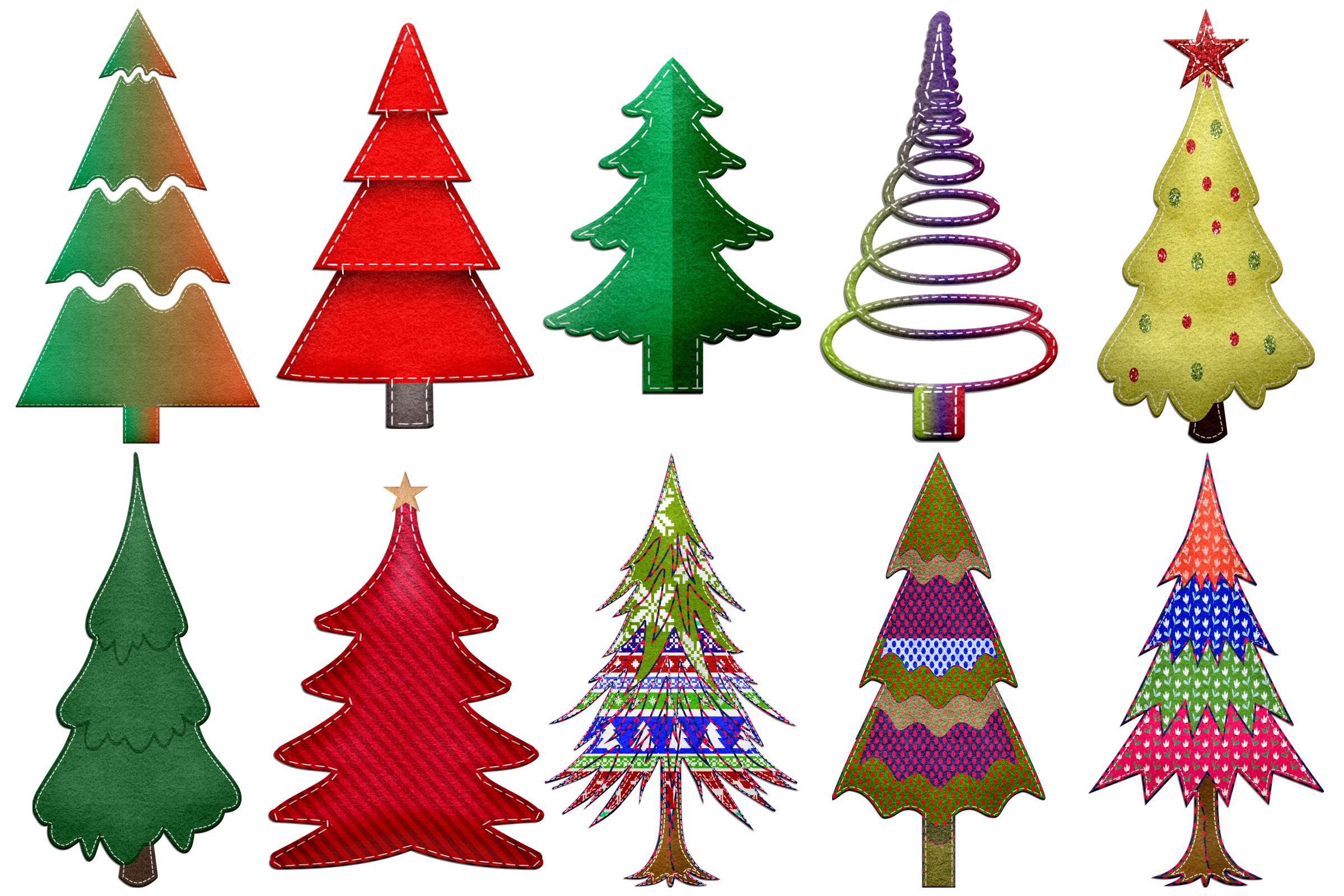 Christmas Felted Trees Clip Art example image 3