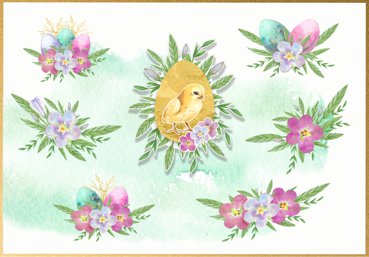 Happy Easter. Watercolor clip-art collection. example image 6