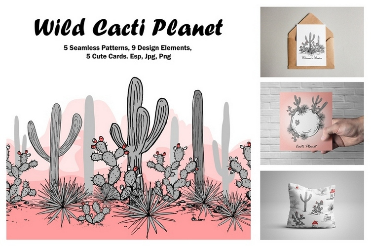 Wild Cacti Planet. Vector collection example image 1