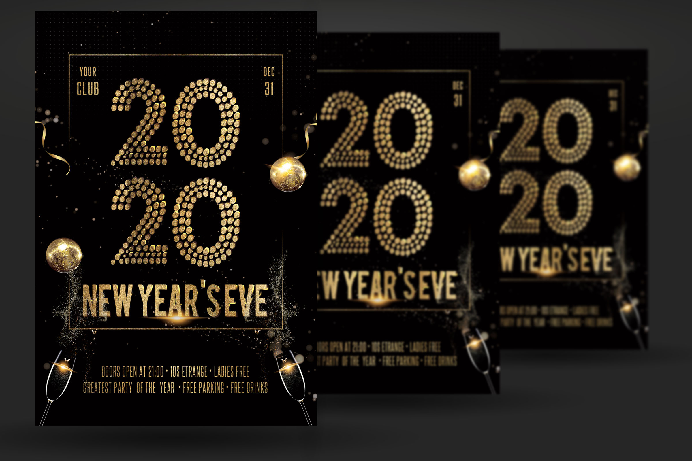 New Years Eve Christmas Party Flyer example image 2