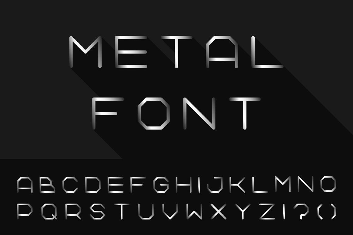 Metal font. Iron english alphabet example image 1