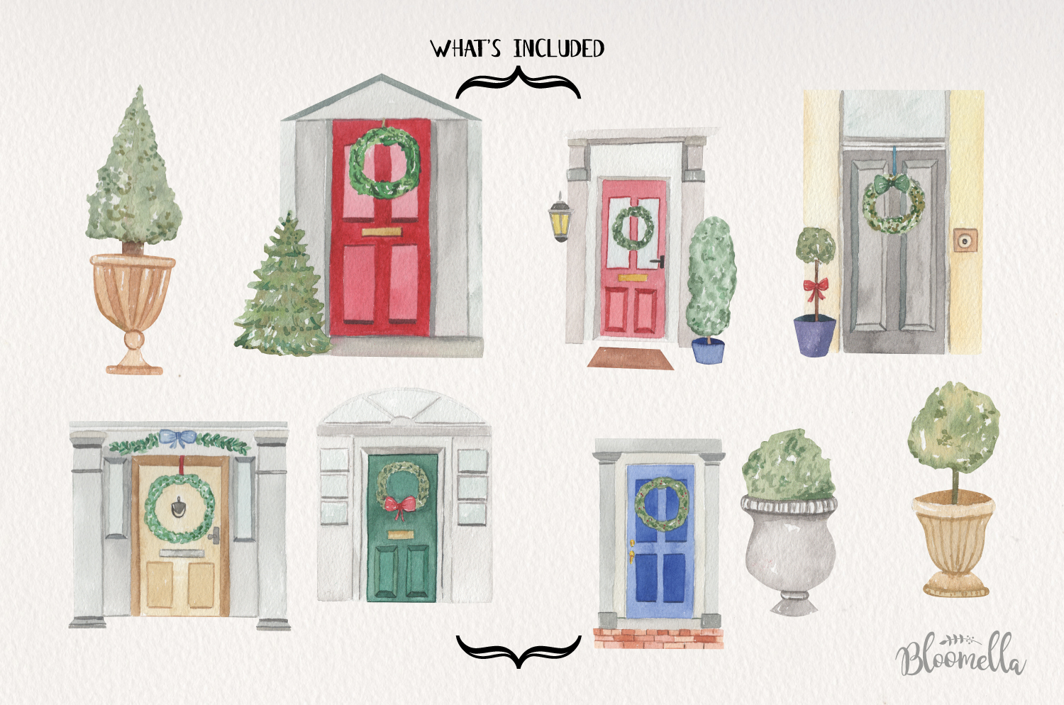 Festive Door Elements Watercolor Bushes Christmas Holidays example image 4