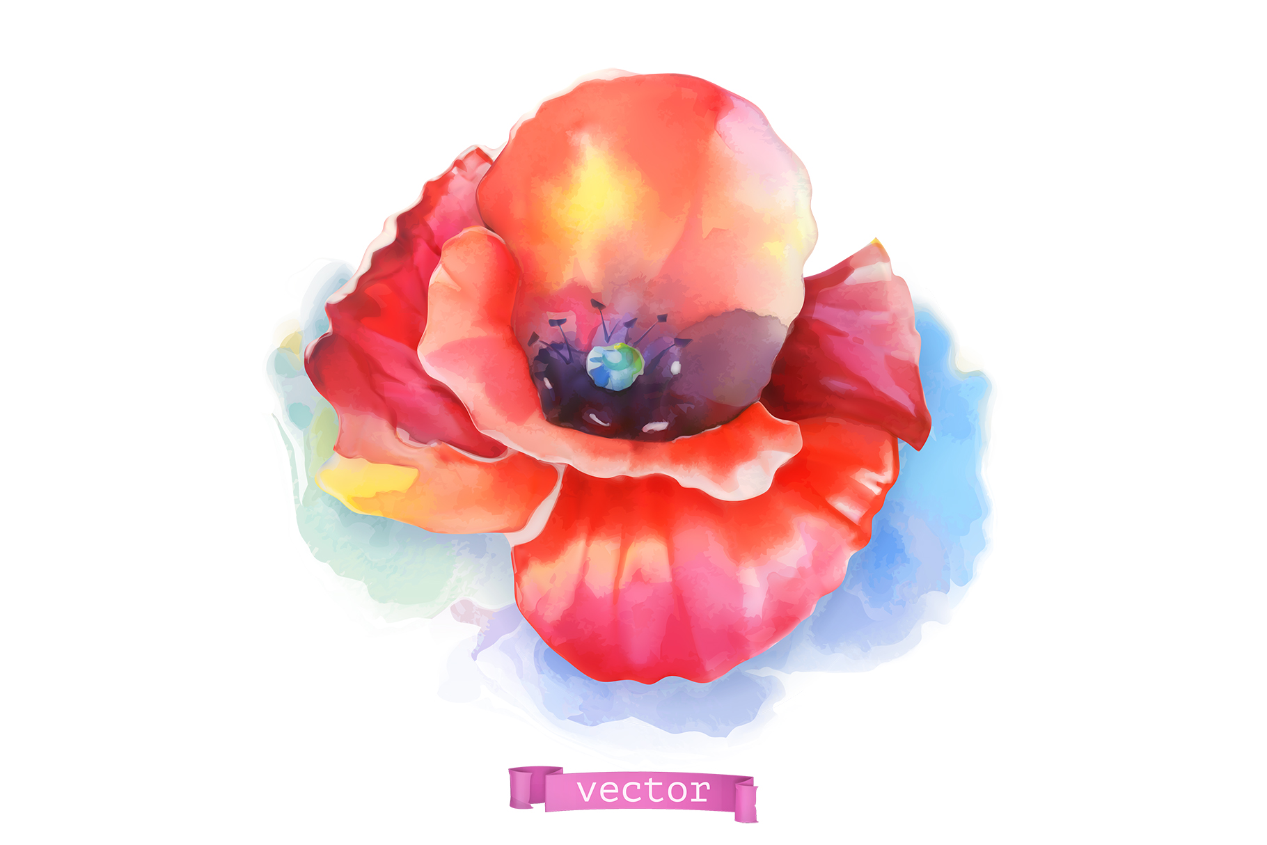 Flowers set. Rose and other plants. Watercolor, vector icons example image 3