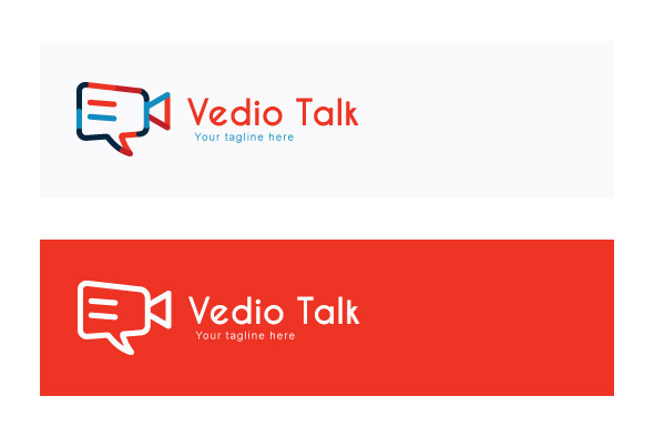 Video Talk - Chat Icon with Movie Camera Stock Logo Template for Blog & App example image 2