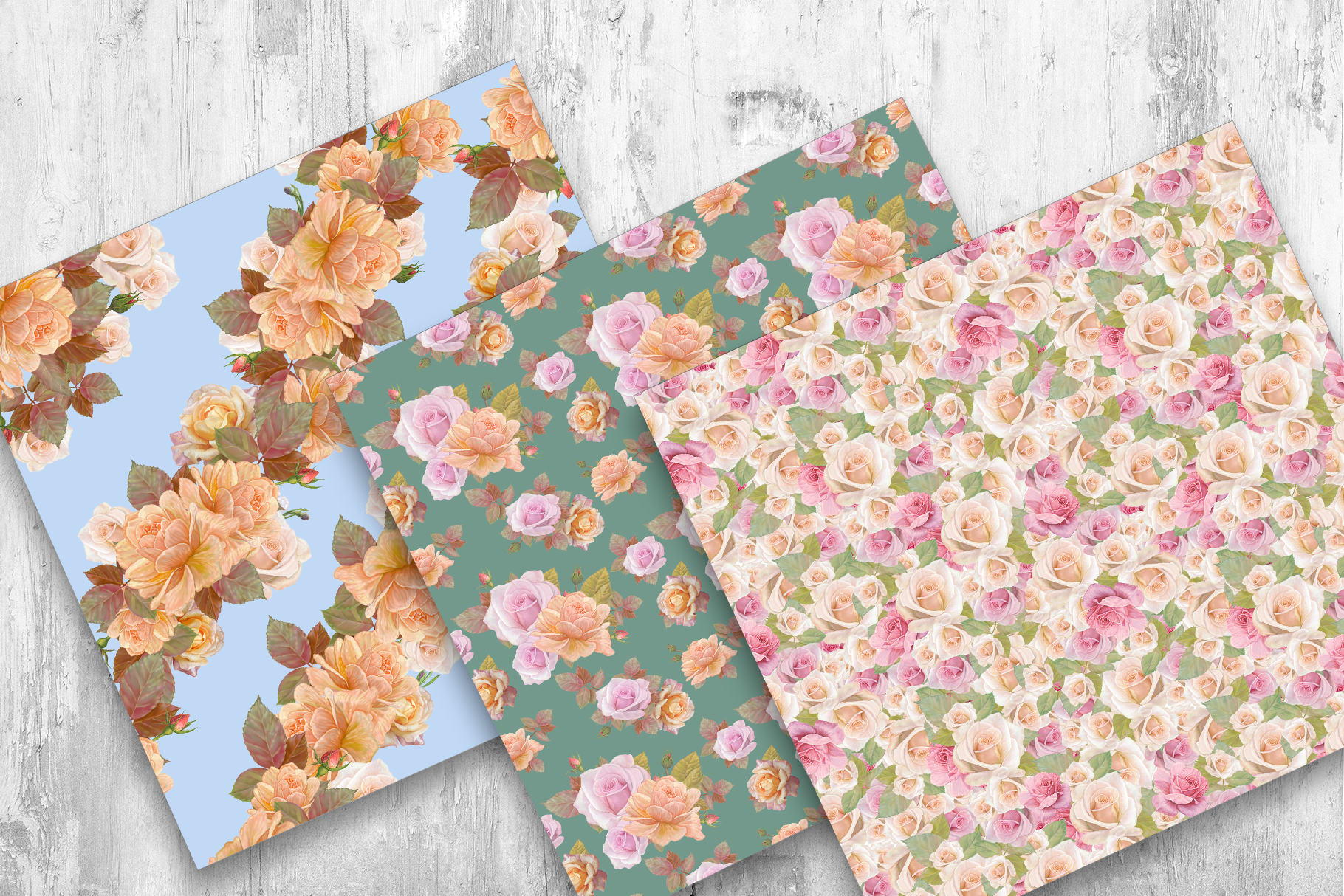 Roses Pattern, Seamless,Floral Digital Paper example image 5
