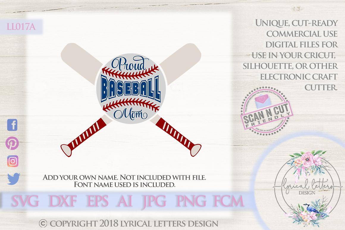 Proud Baseball Mom with Baseball Bats SVG DXF Cut File LL017 example image 1