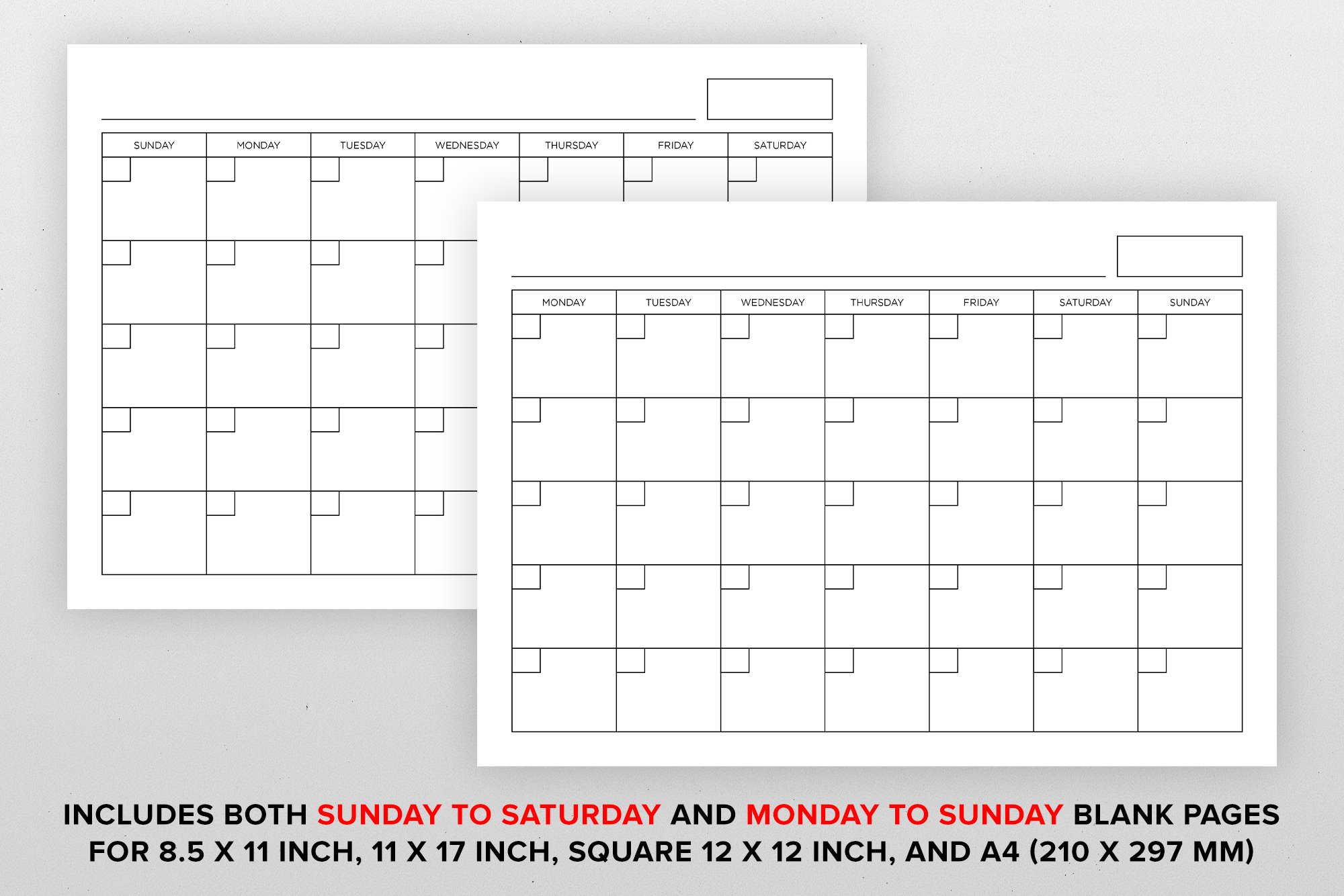 Blank Calendar Page Template Set example image 12