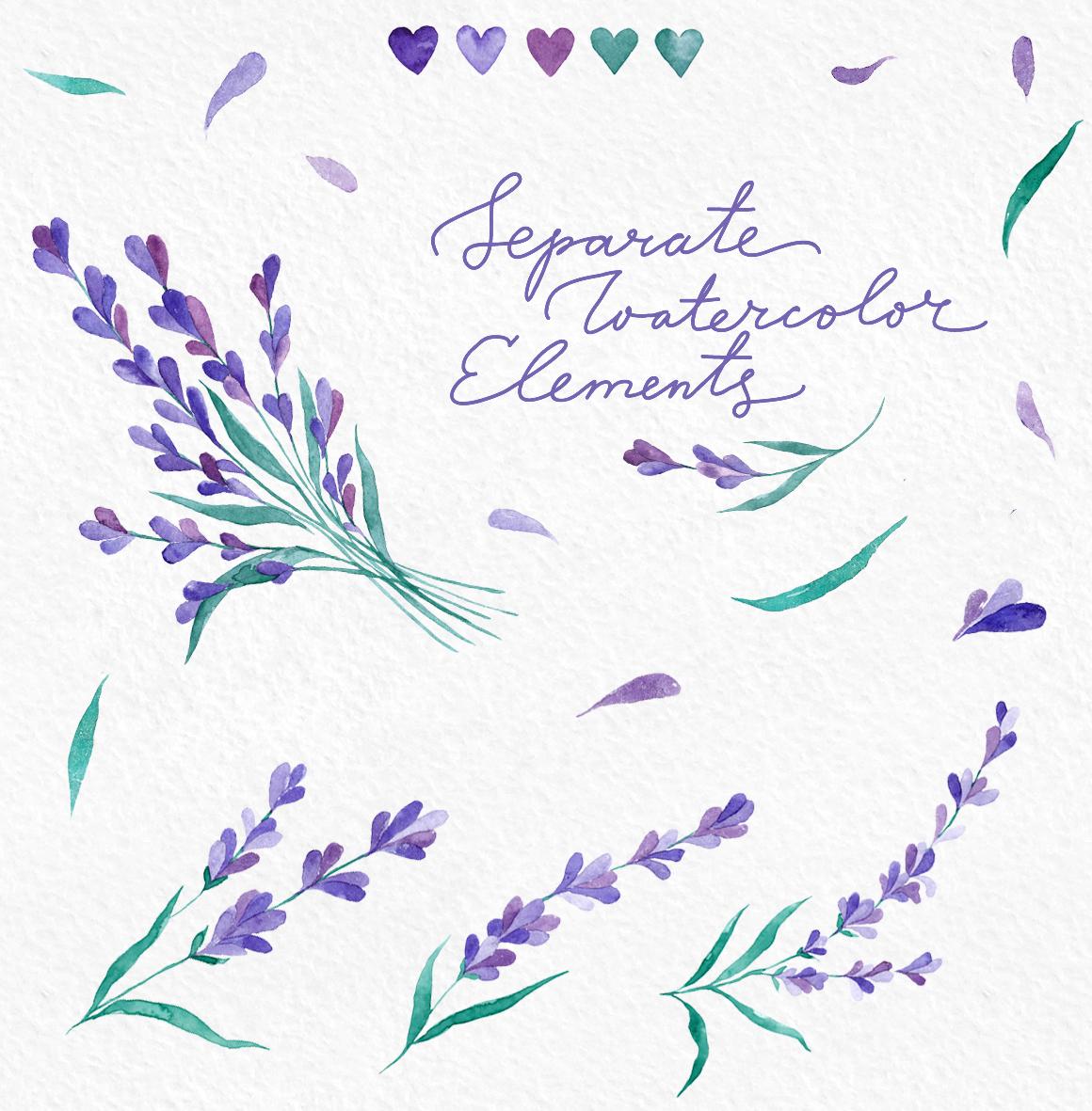 Watecolor Lavender Clip Art Set example image 6