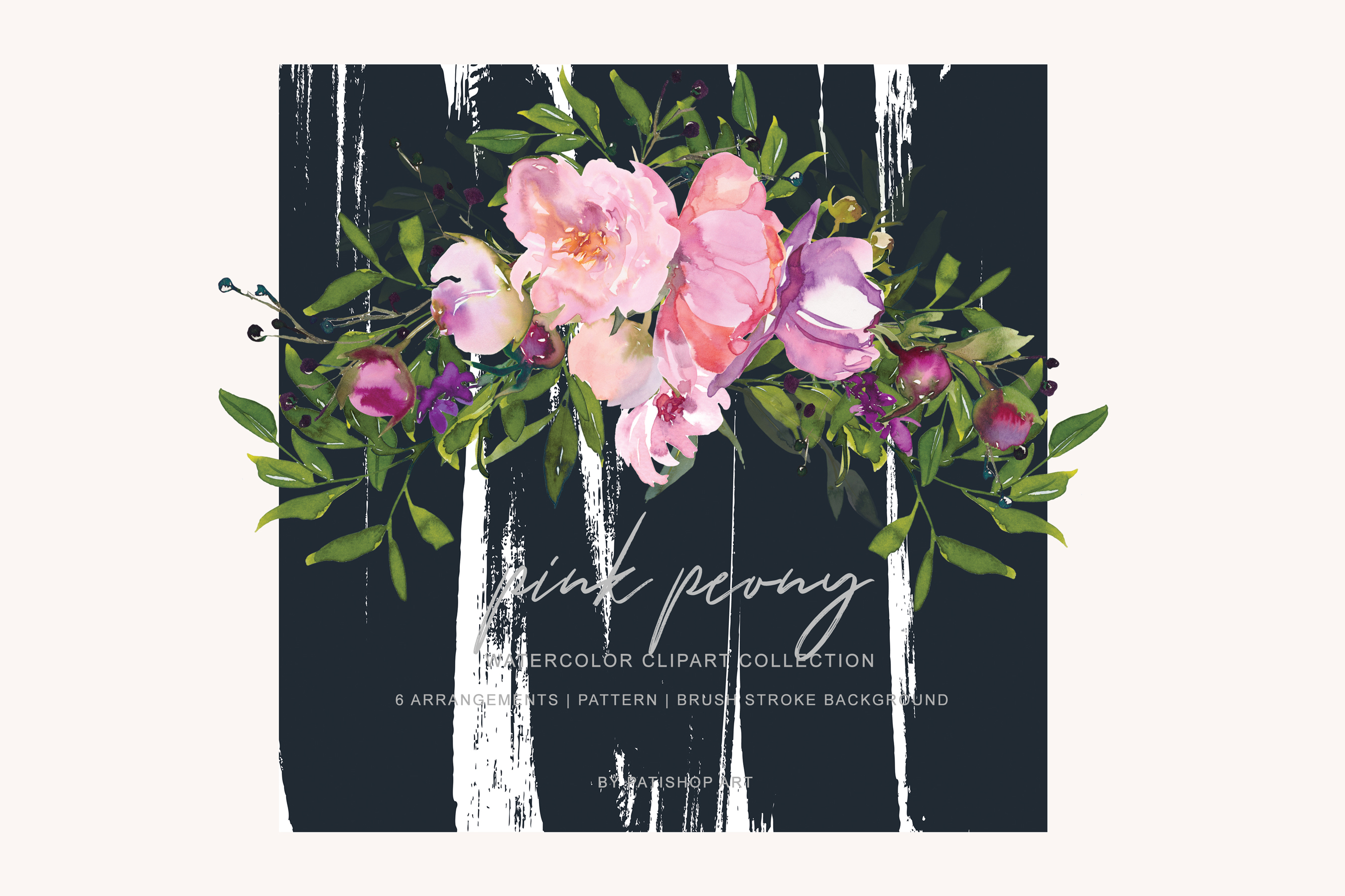 Watercolor Pink Peony Collection example image 7