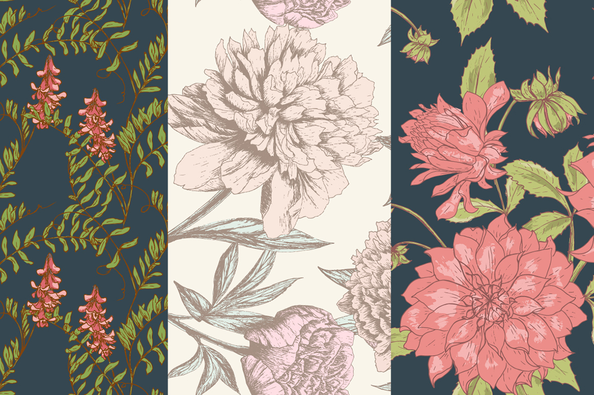 Hand Drawn Floral Vector Patterns example image 8