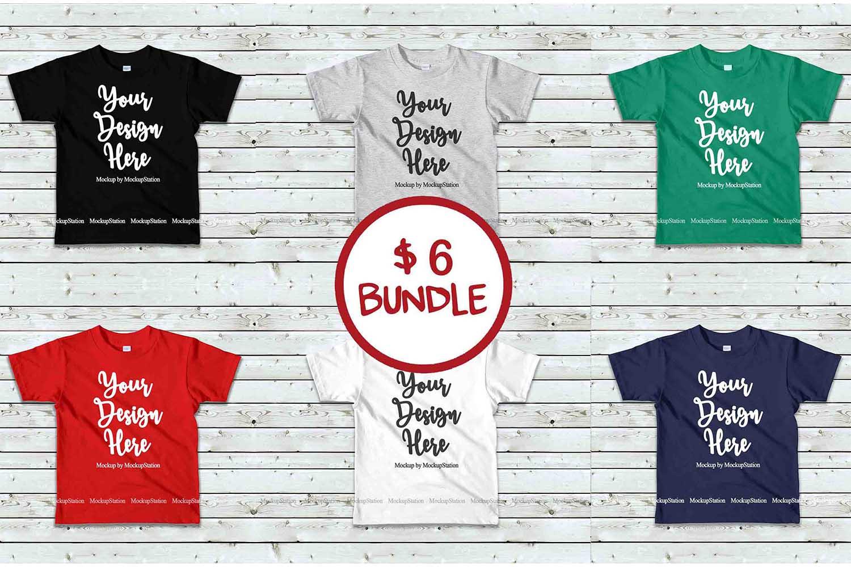 Kids Tshirt Mockup Bundle, Basic Toddler Shirt Mock Up Set example image 1