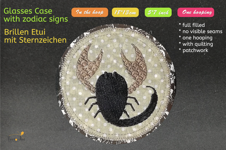 ITH - Glasses Case with Zodiac Scorpio - Embroidery file example image 4