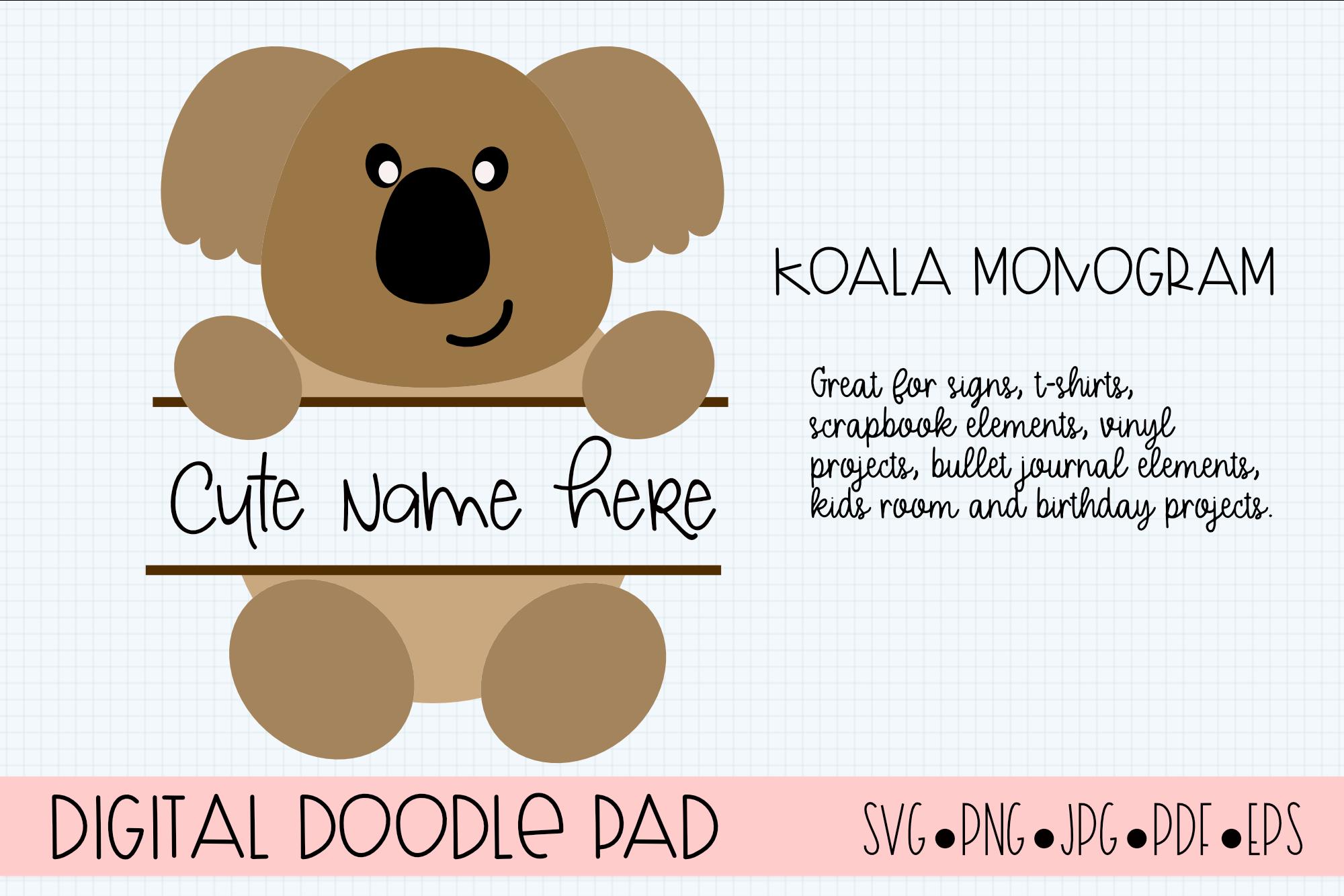 Koala SVG Split Monogram, Cricut & Silhouette Cut Files example image 2