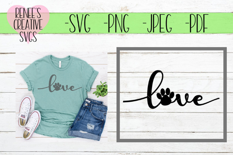 Love With Paw Print | LOVE | SVG Cutting File example image 1