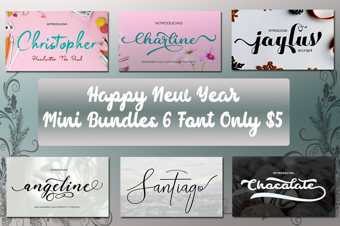 Happy New Year Mini Bundles Font Script example image 1