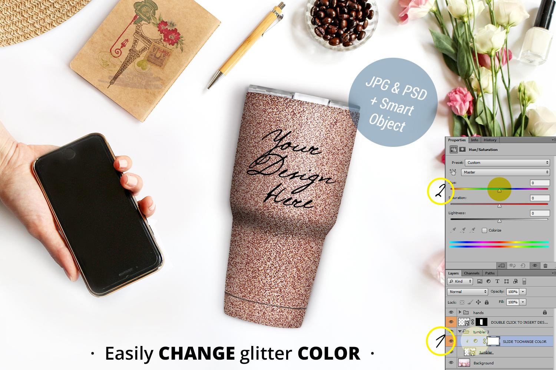 Glitter tumbler mockup, Glitter travel mug mockup, PSD 984-1 example image 2