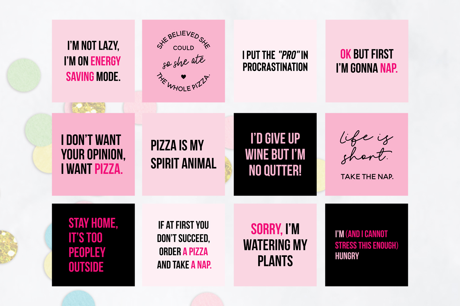 25 x Pink & Black Funny Social Media Quotes example image 2