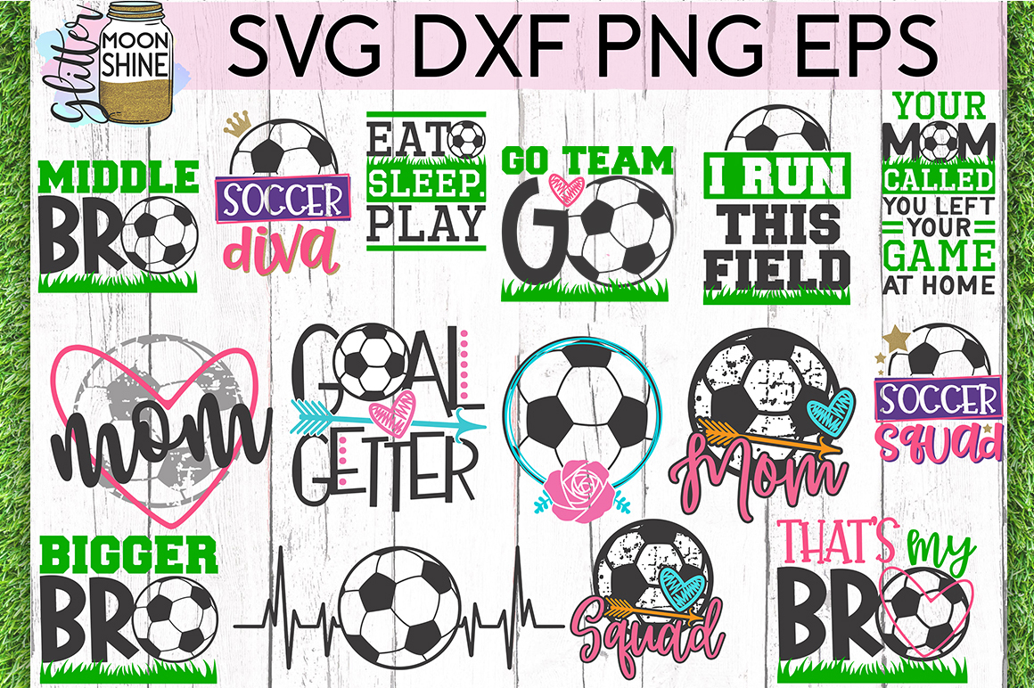 Soccer Star Bundle of 29 SVG DXF PNG EPS Cutting Files example image 2