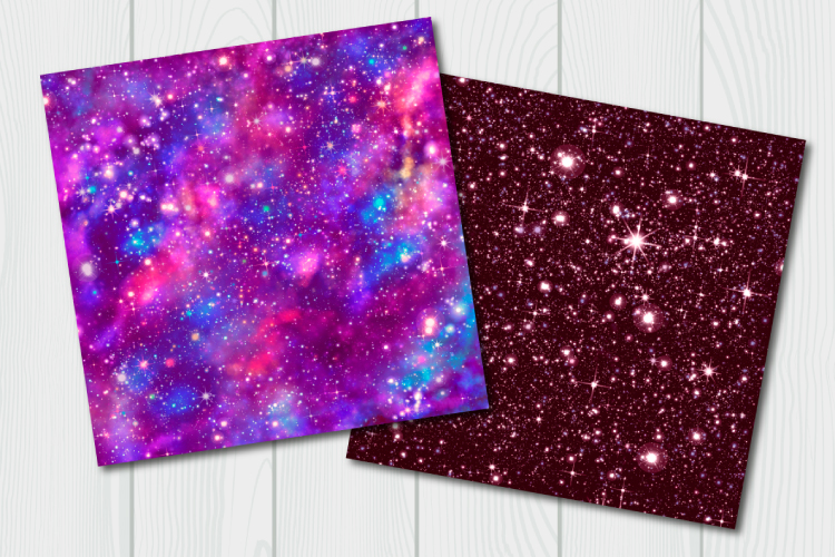 Red galaxy digital paper. Starry sky example image 4