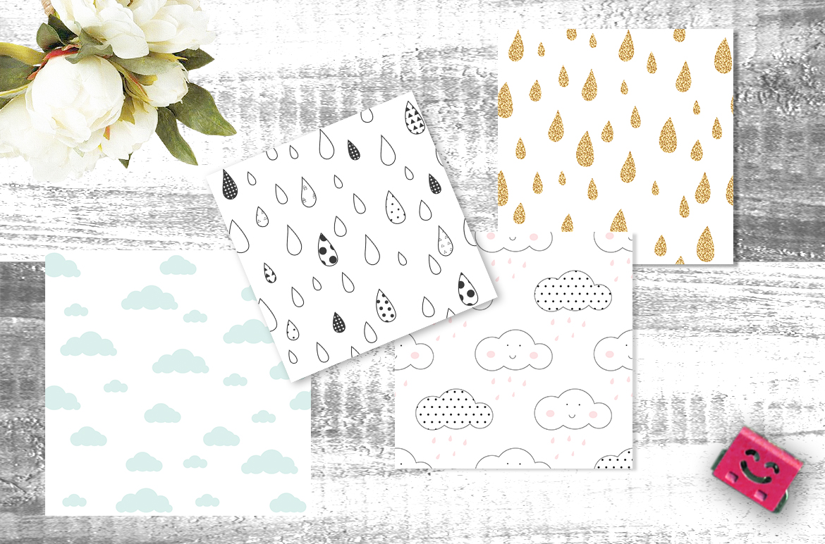 Clouds and Rain seamless patterns example image 2