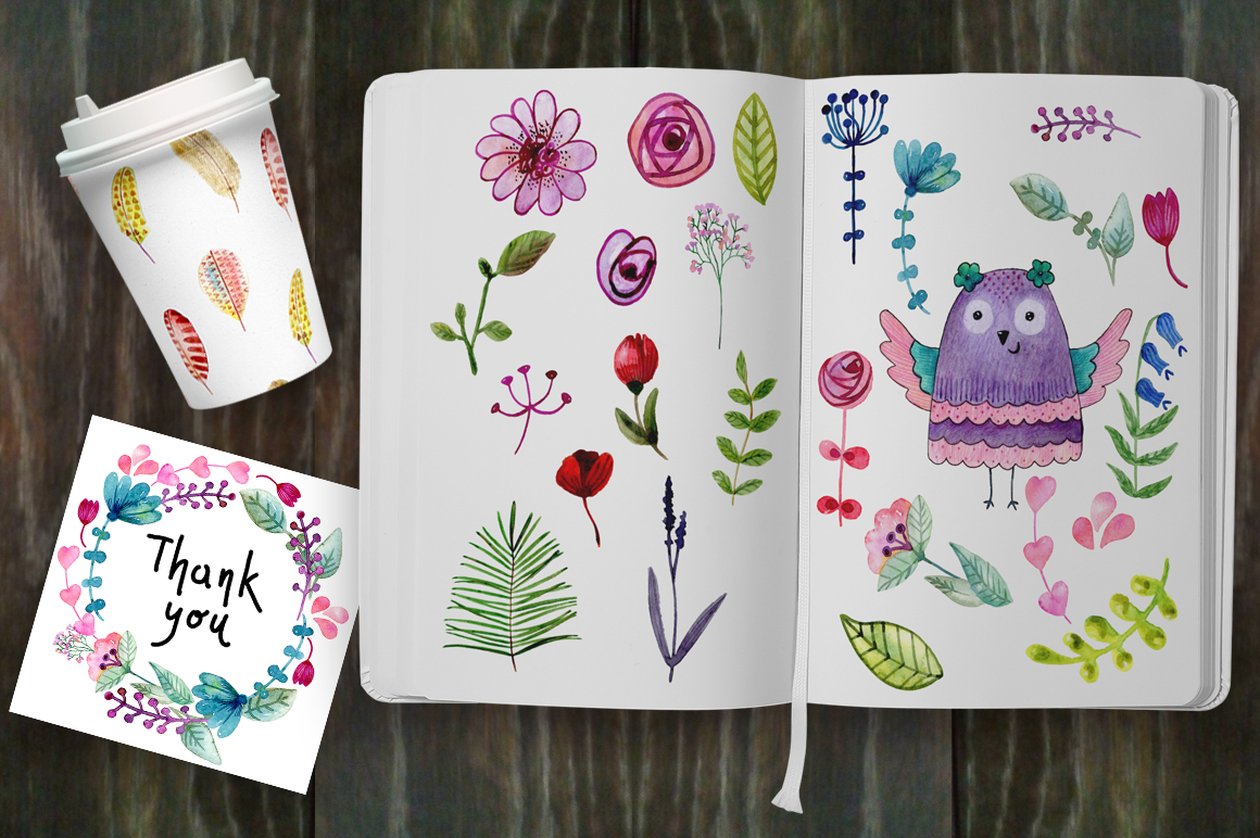 Watercolor owls. Kit. example image 4