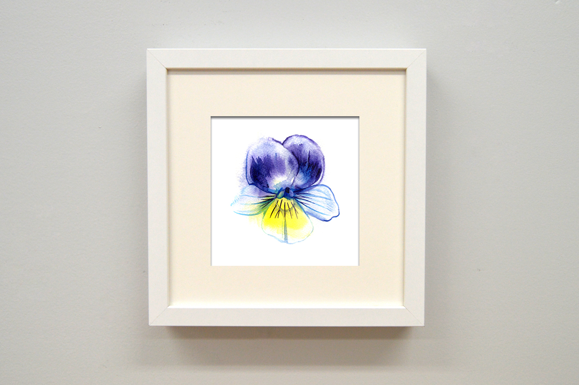 Watercolor pansy illustrations example image 2