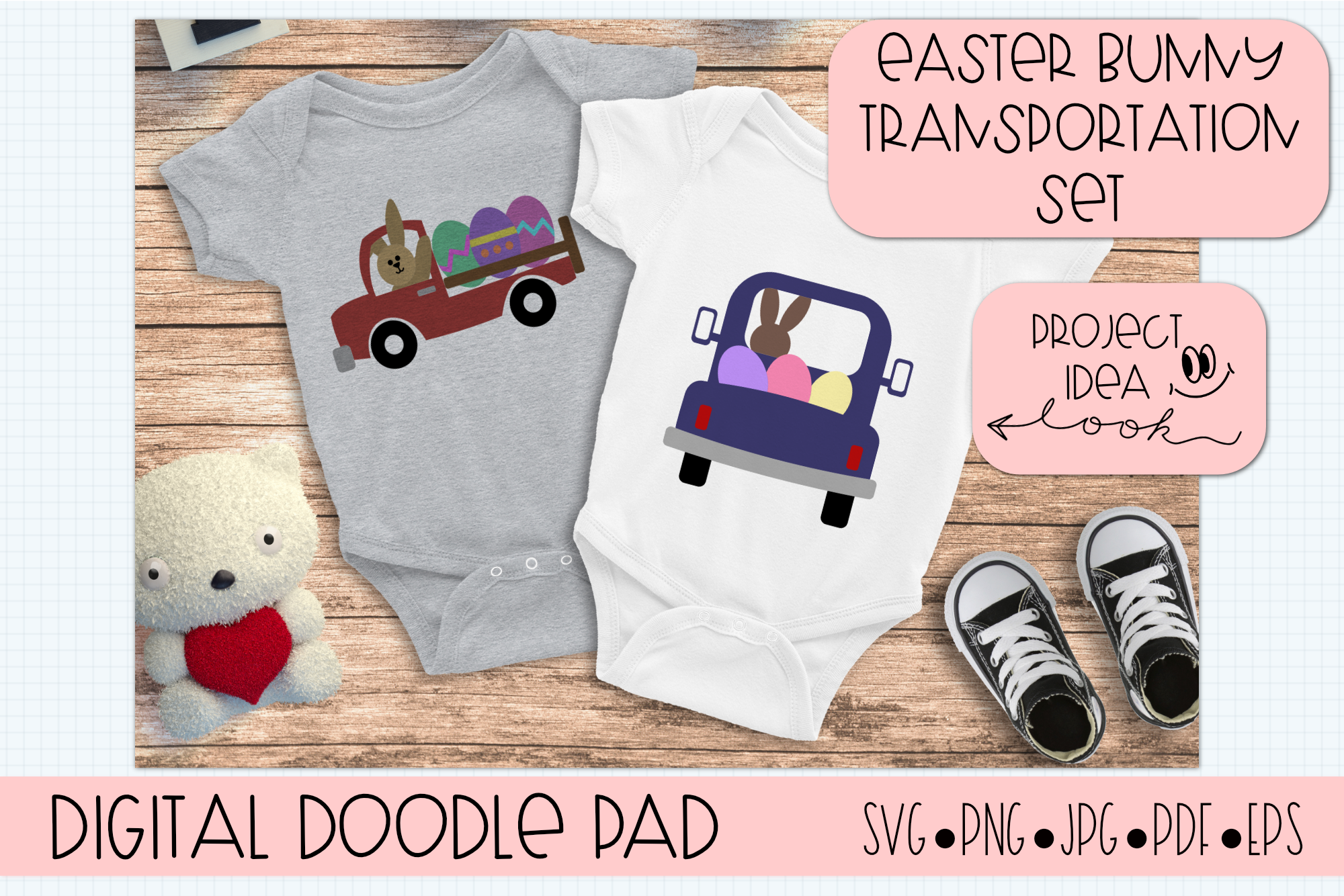 Easter Bunny Transportation Set - Cricut and Silhouette example image 2