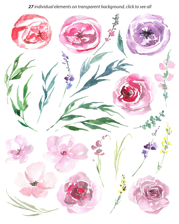 Gentle watercolor flowers, leaves example image 2