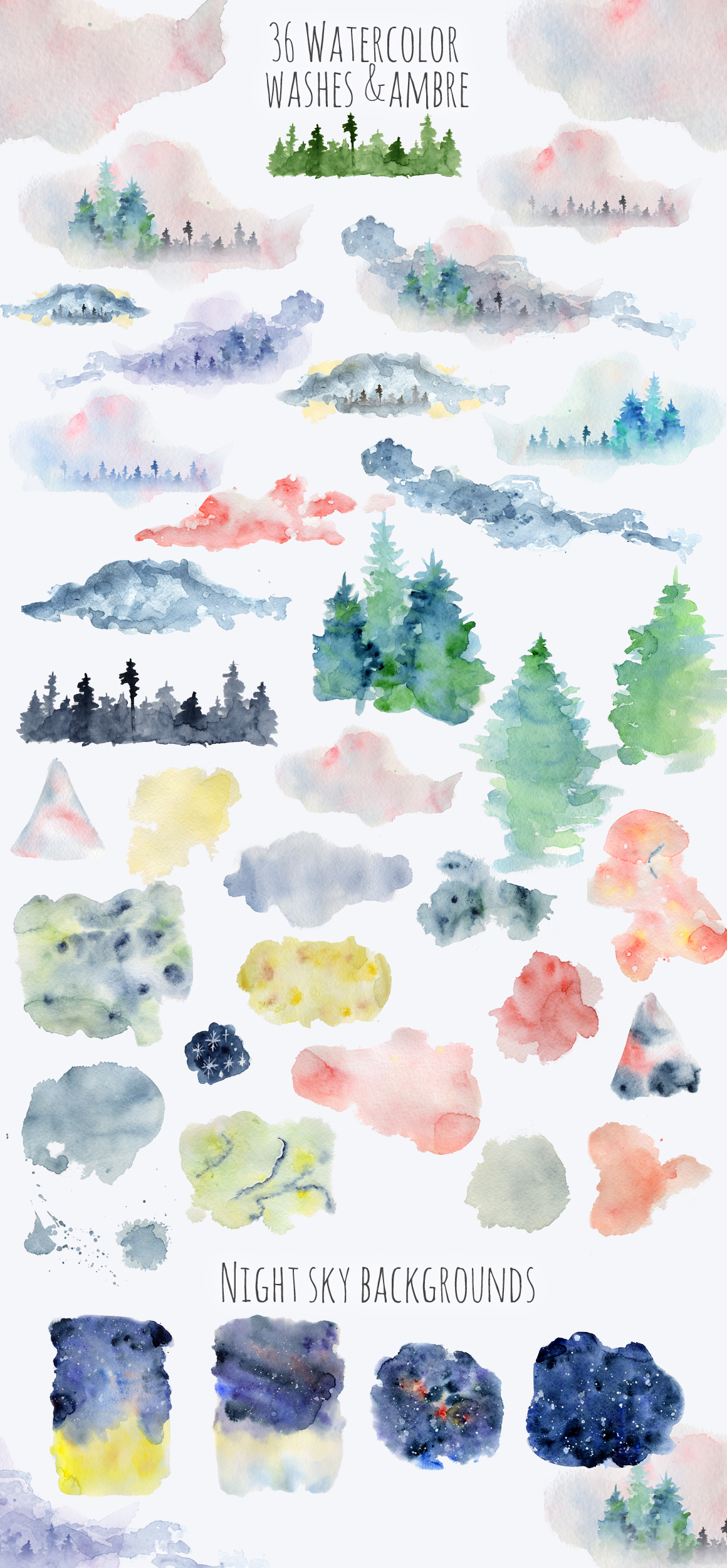 Magical Winter Bundle. Big Watercolor and lettering collection example image 16