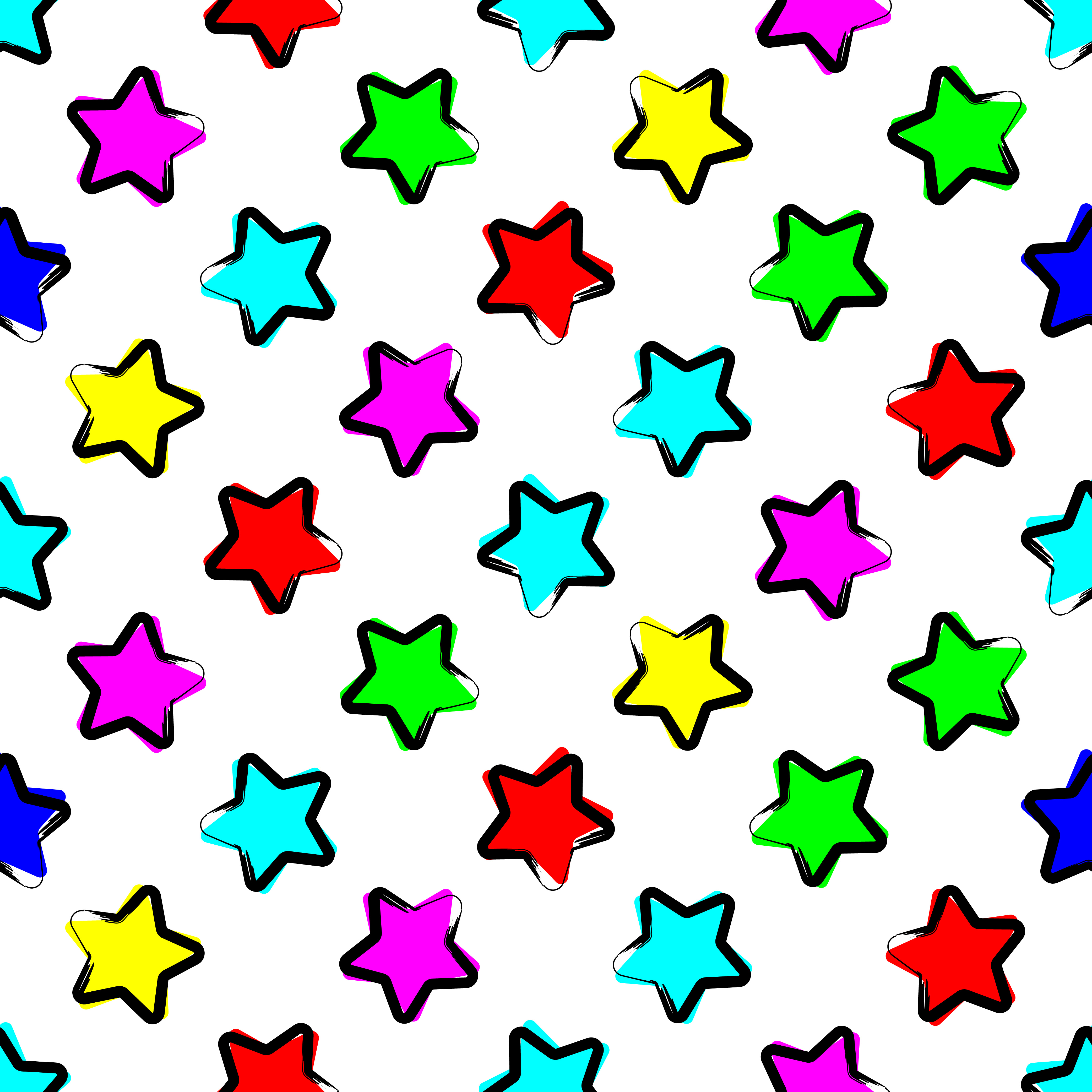 Seamless vector background with decorative stars.  example image 1
