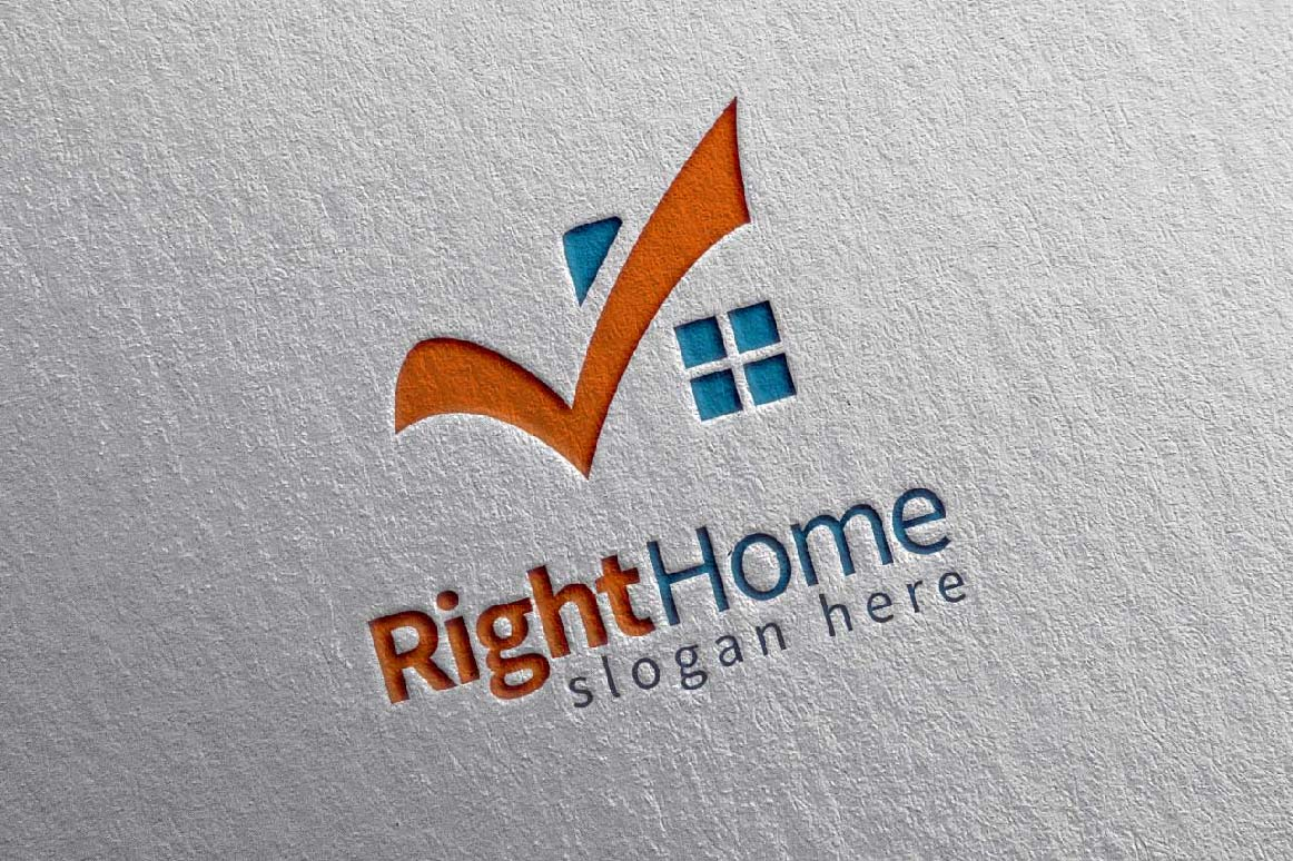 Real estate logo,check home, house logo example image 1