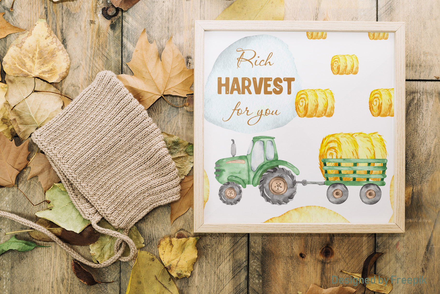 Tractor, harvesting, hay, pumpkin, farm. Watercolor clipart example image 8