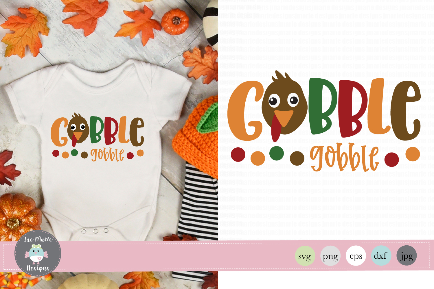 Gobble Gobble svg, baby thanksgiving svg, cute fall svg example image 1