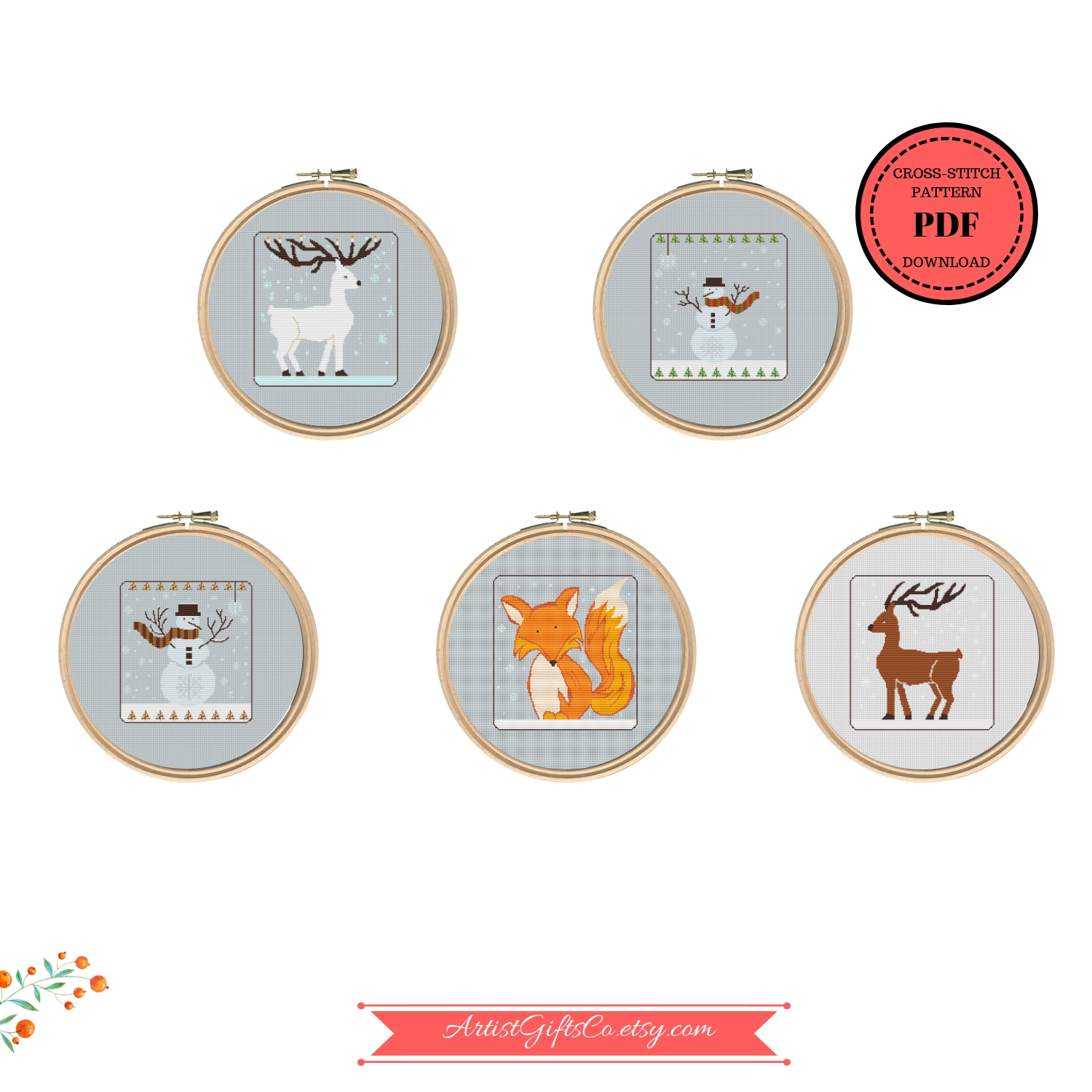 Set 5 Christmas Winter Animals, Counted Cross Stitch Pattern example image 2