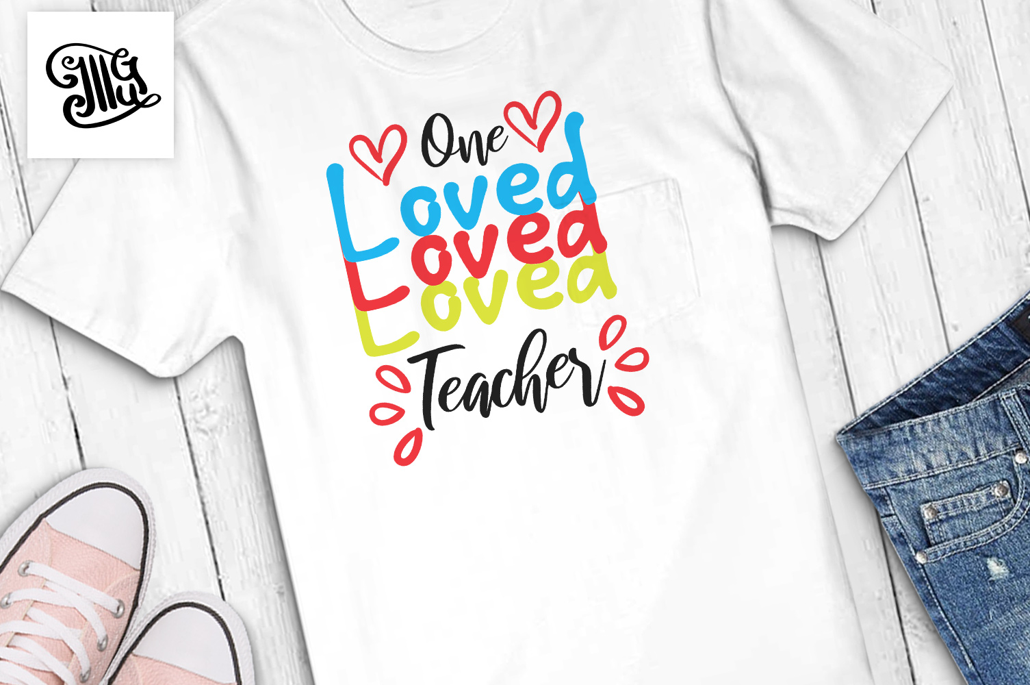 Teacher Valentines day svg One loved teacher example image 1