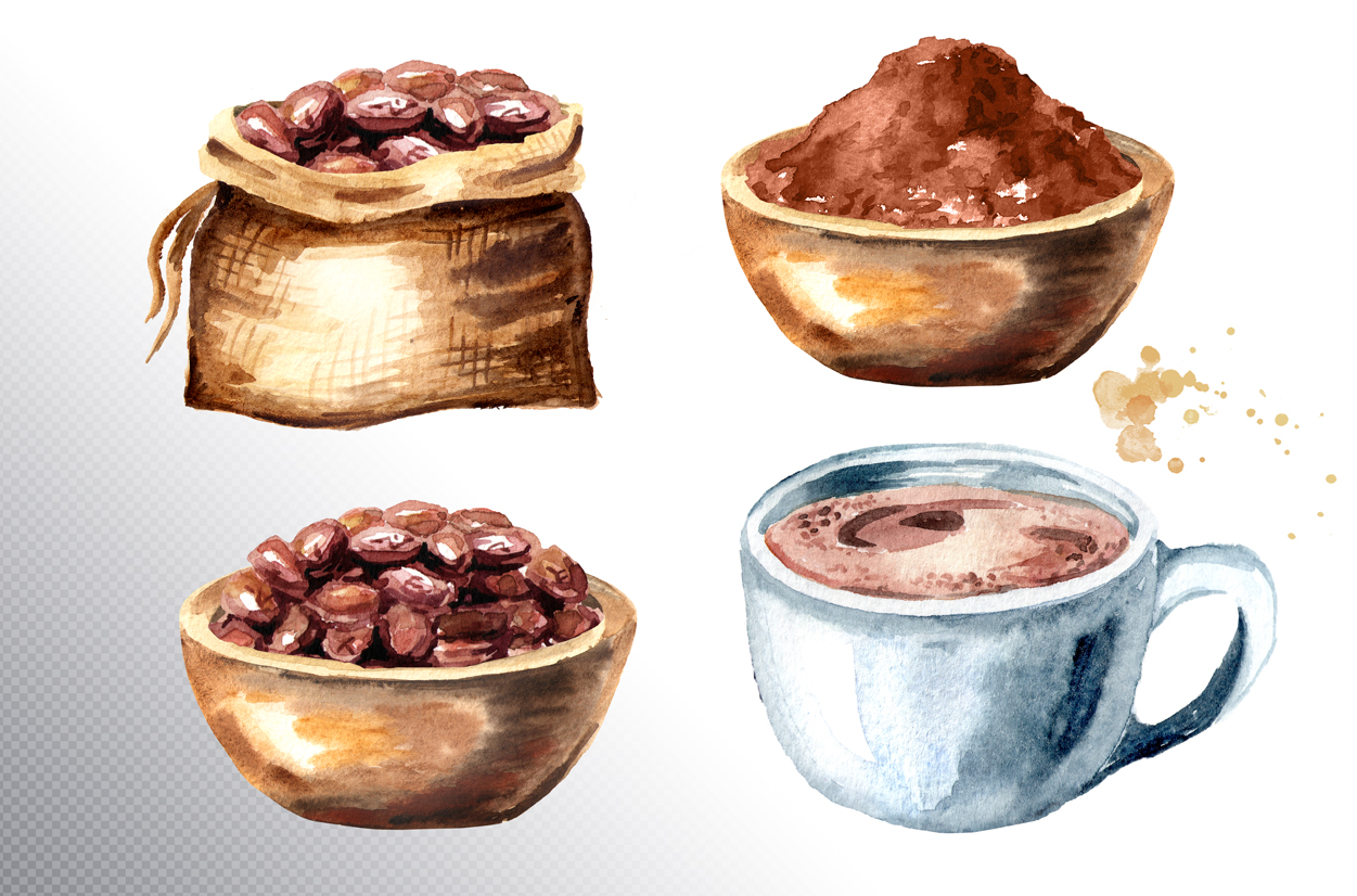 Cocoa. Watercolor collection example image 9