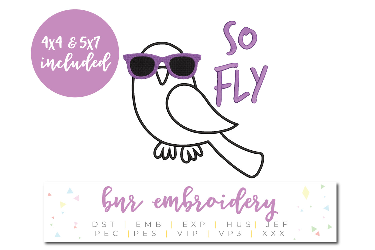 So Fly Machine Embroidery Design, Bird Embroidery example image 1
