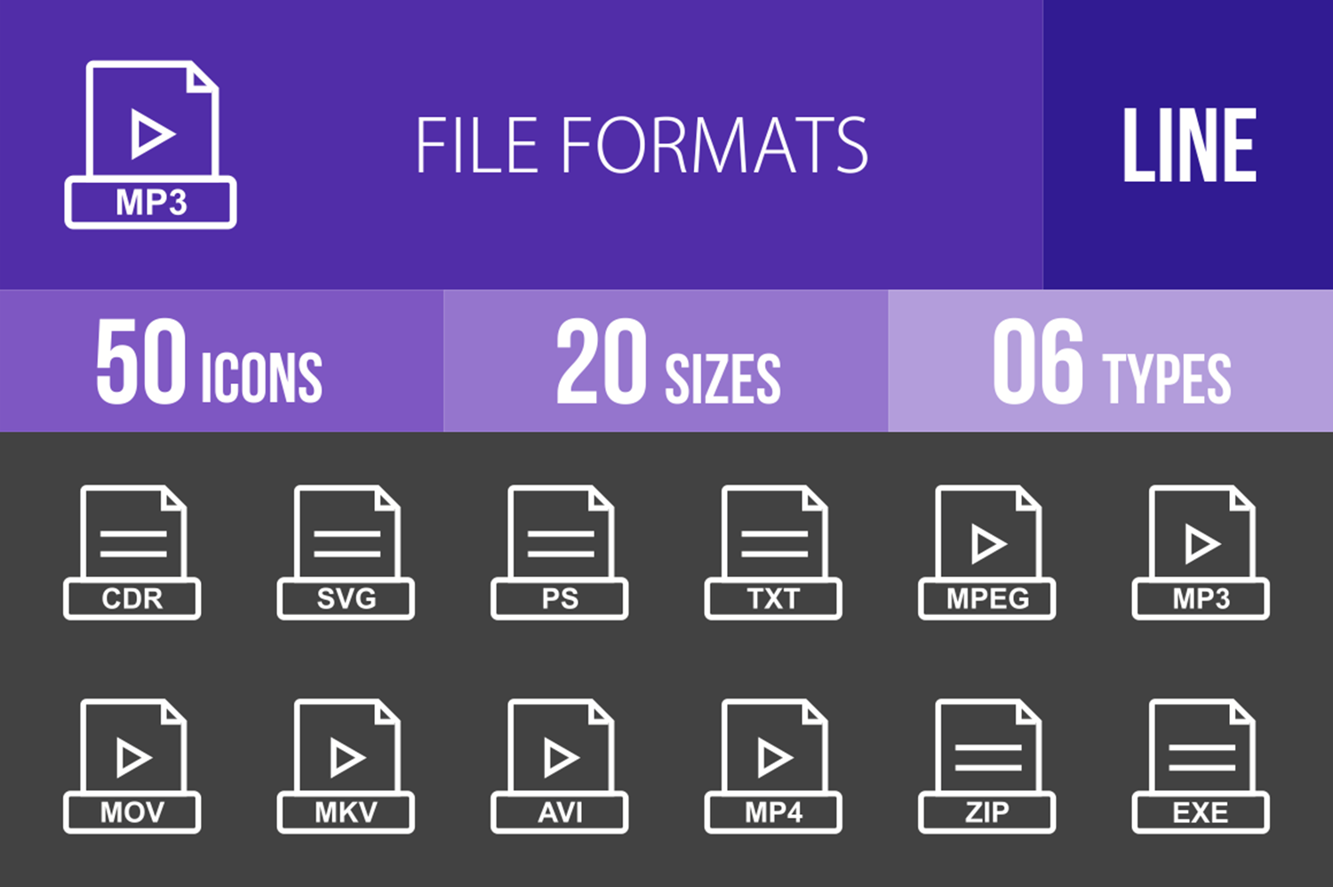50 File Formats Line Inverted Icons example image 1