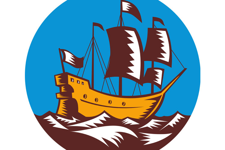 Galleon tall ship sailing retro woodcut example image 1