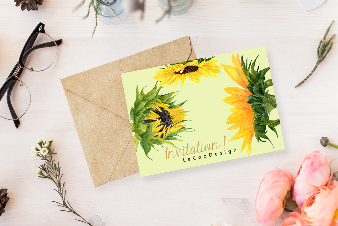 Watercolor Sunflower clipart example image 5