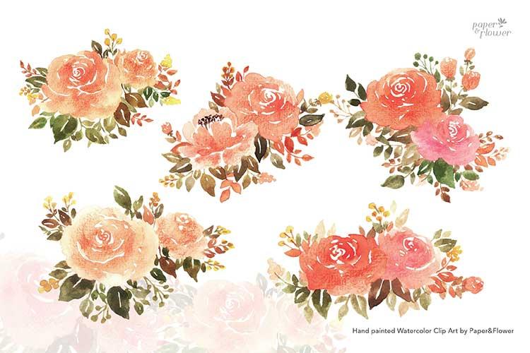 Peach Rose Floral Watercolor Bouquet Set example image 2