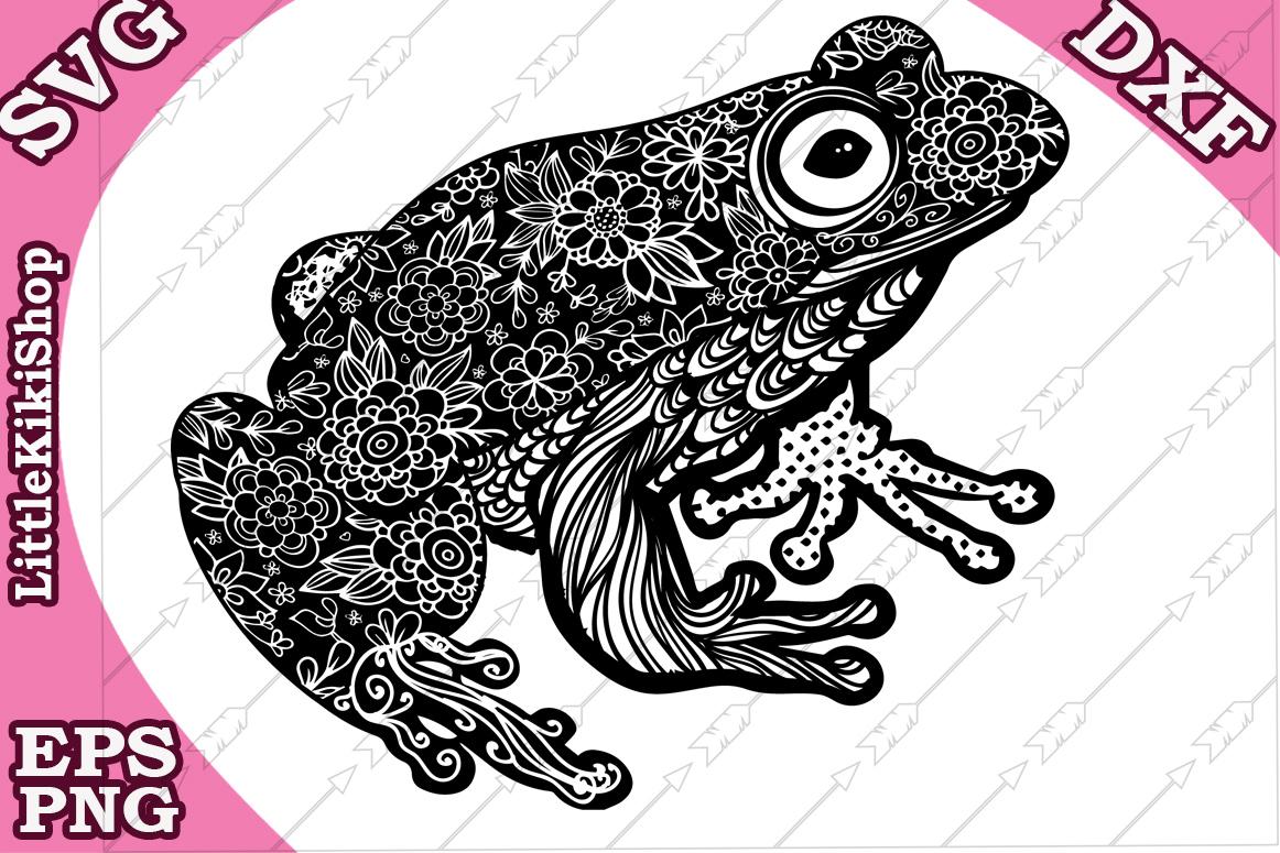 Zentangle Frog Svg, Mandala Frog Svg,Frog cut file, Frog svg example image 1