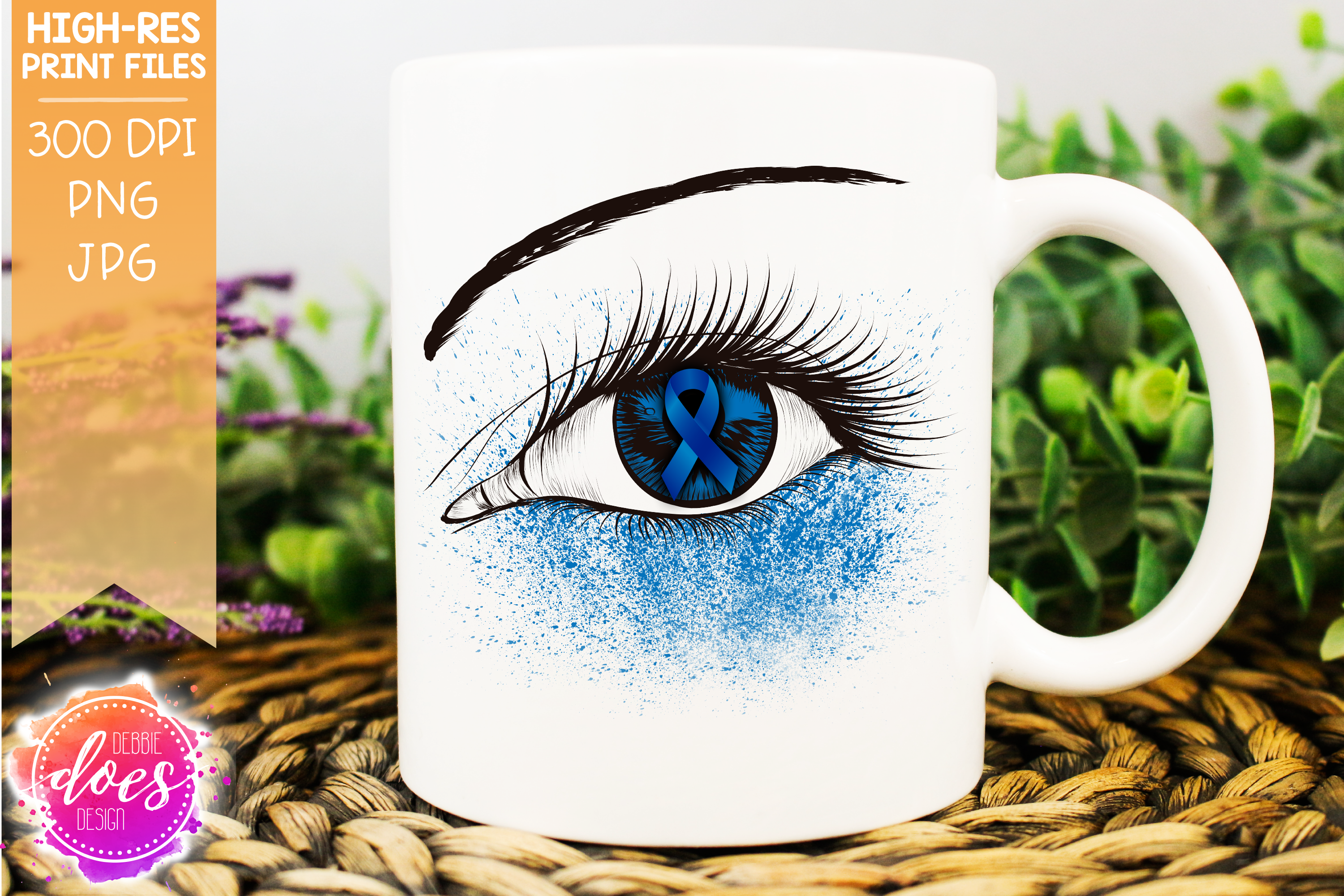 Blue Awareness Ribbon Eye - Printable Design example image 1