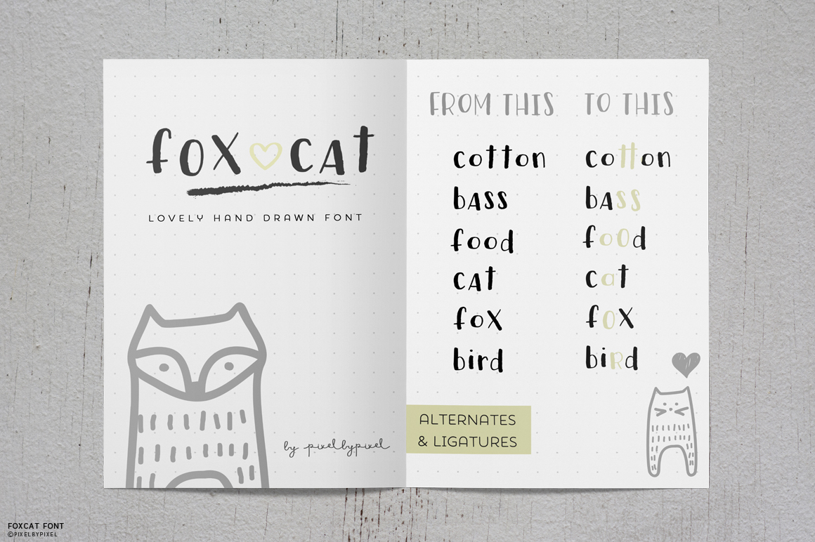 Fox Cat Hand Drawn Font example image 7