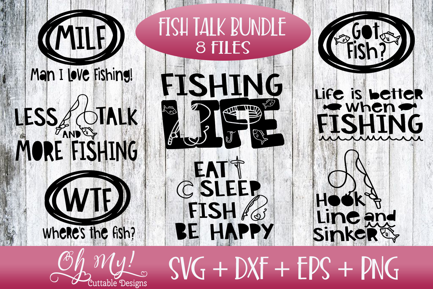 Fish Talk Bundle - 8 Files - SVG DXF EPS PNG Cutting File example image 1